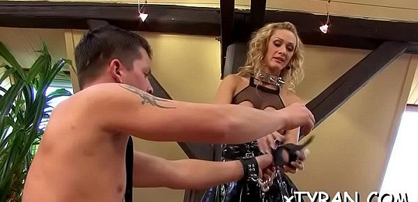 Sexy honey enjoys her slave fetish and gets walked like a dog
